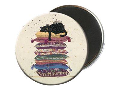 Kiub Bug Art - Magnet rond en verre - Chat sur coussin