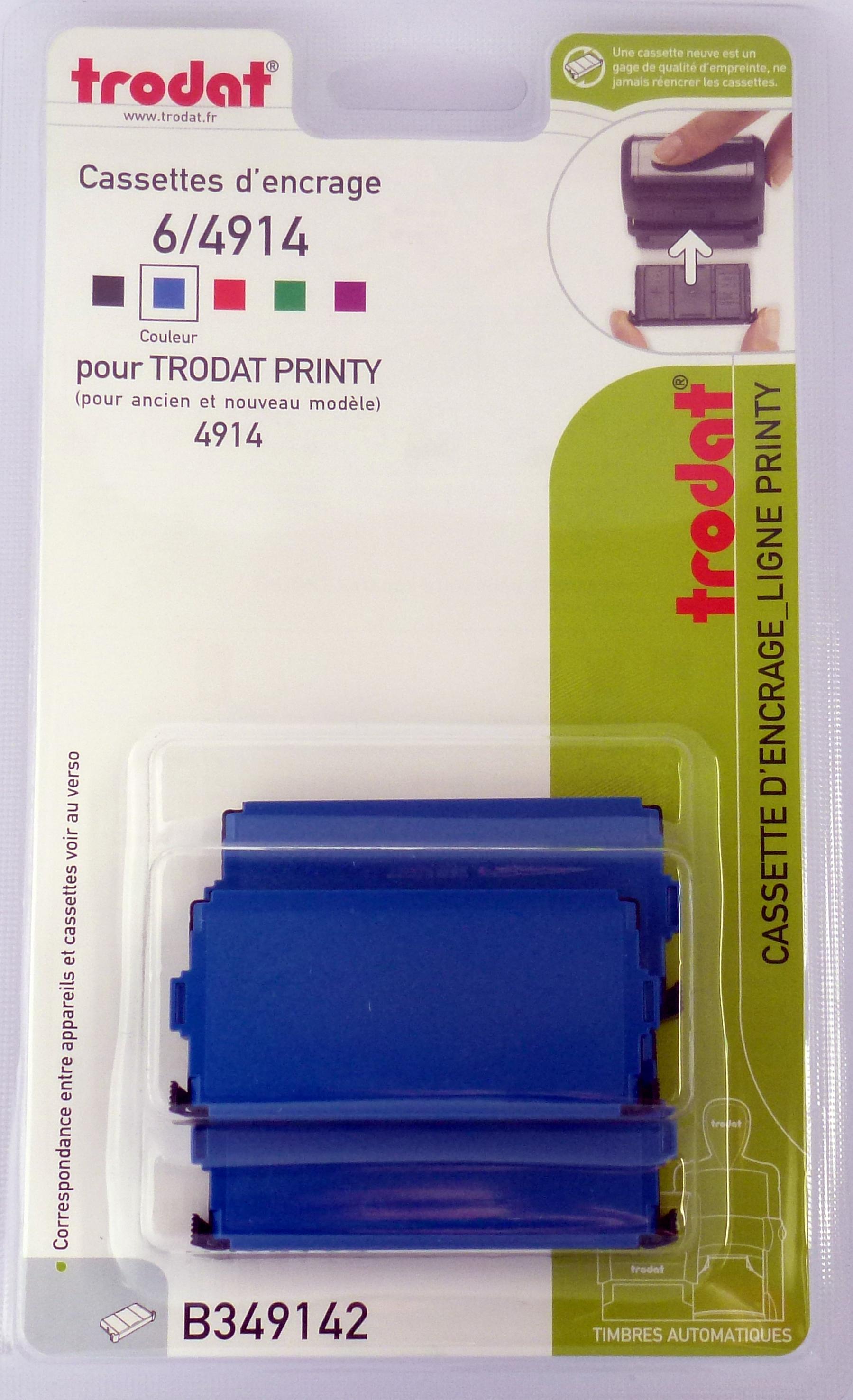 Trodat - 3 Encriers 6/4914 recharges pour tampon Printy 4914 - bleu