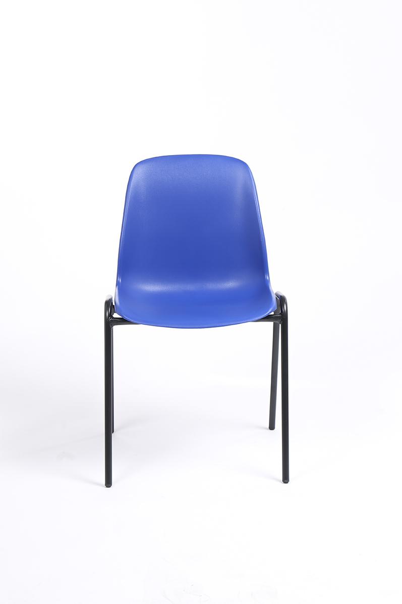 Chaise CHARLOTTE - pieds noirs sans accroche - bleu