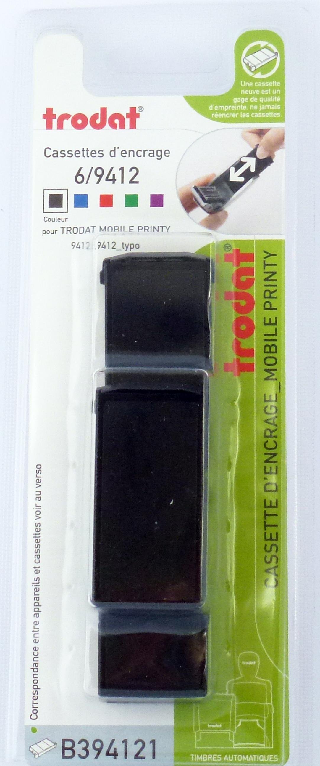 Trodat - 3 Encriers 6/9412 recharges pour tampon Mobile Printy 9412 - noir