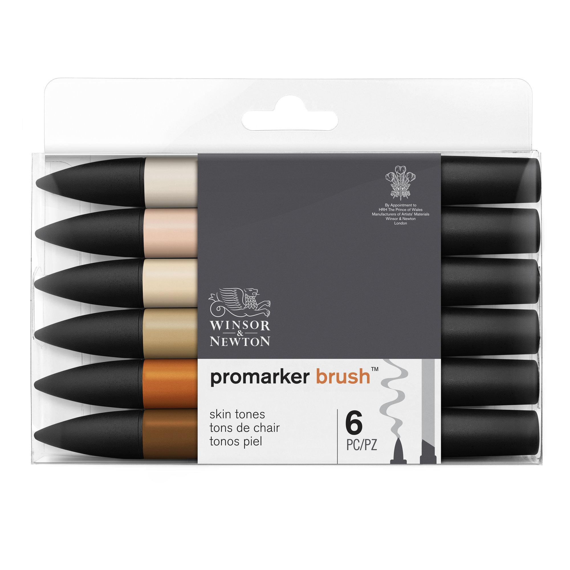 BrushMarker - Pack de 6 stylos pinceaux et marqueurs - teint peau