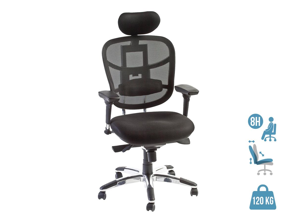Fauteuil de bureau ergonomique TECKNET - accoudoirs réglables - appuie-tête réglable - noir