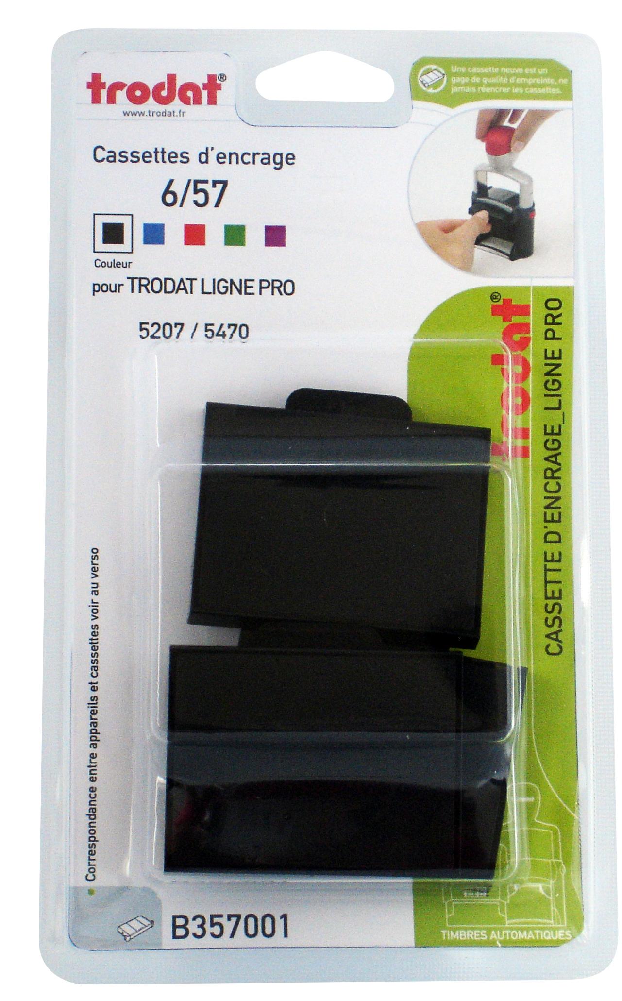 Trodat - 3 Encriers 6/57 recharges pour tampon 5207/5470 - noir