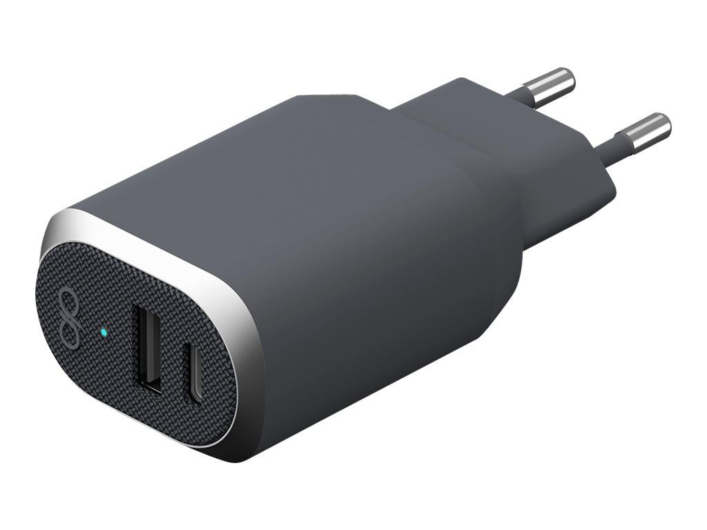 BigBen Force Power - chargeur secteur pour smartphone - 1 USB + 1 USB-C