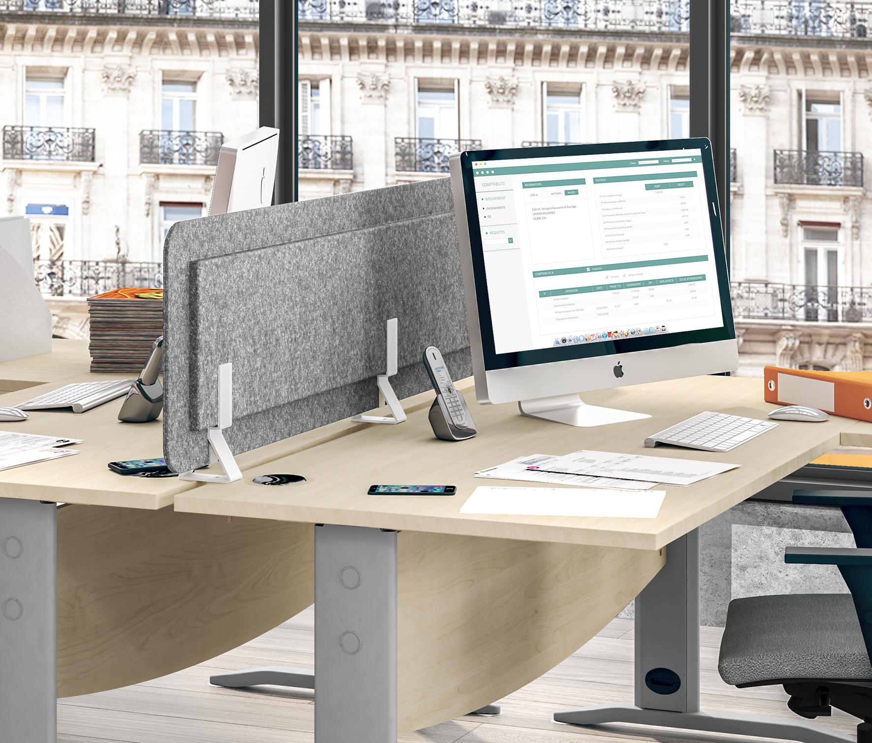 Écran de séparation acoustique pour bureau - L80 x H43 cm - gris chiné