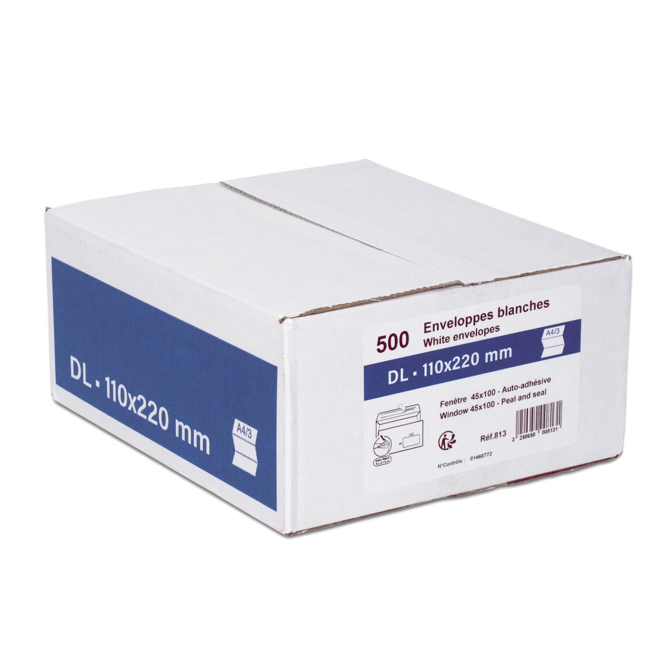 GPV - 500 Enveloppes DL 110 x 220 mm - 80 gr - fenêtre 45x100 mm - blanc - bande adhésive