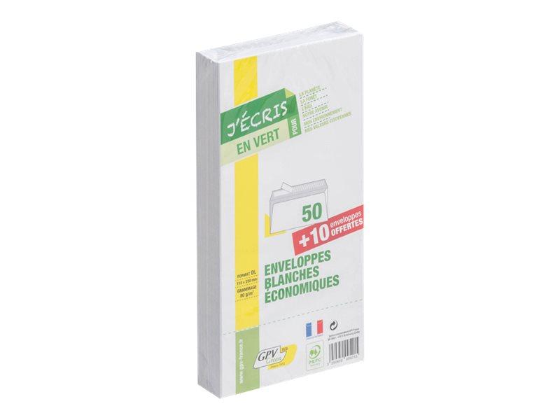 GPV Green - 50 Enveloppes recyclées + 10 gratuites DL 110 x 220 mm - 75 gr - sans fenêtre - bande auto-adhésive