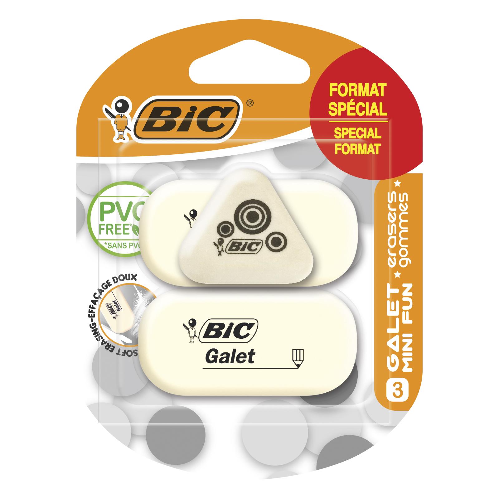 BIC - Pack de 3 gommes - galet caoutchouc