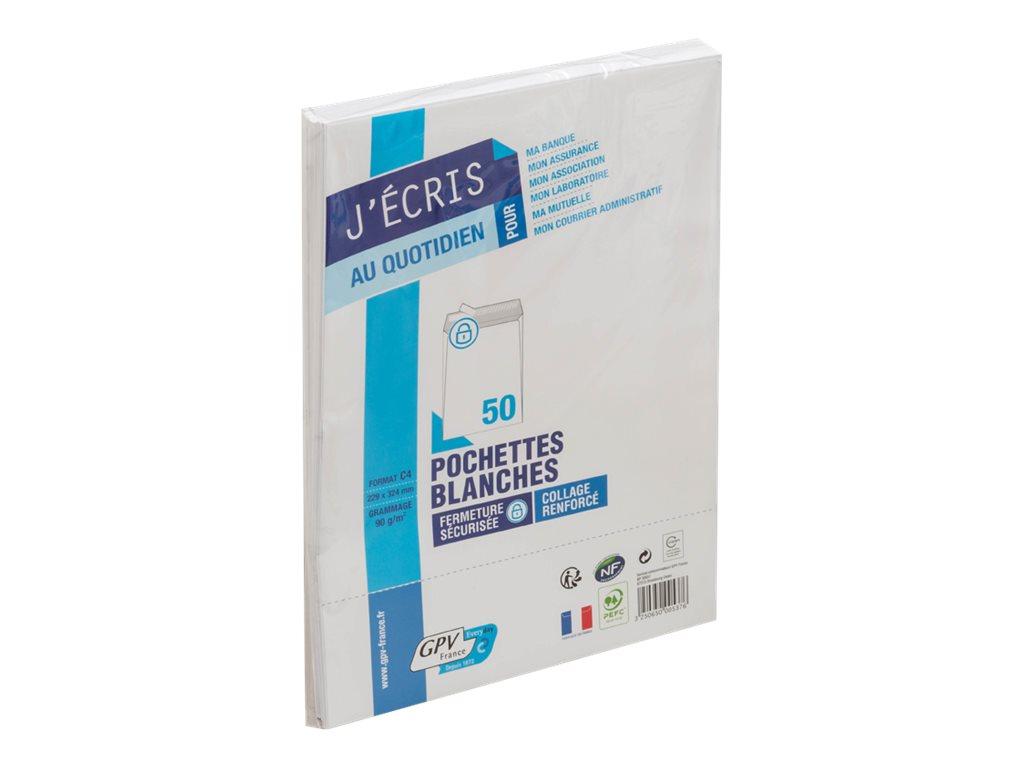 GPV - 50 Pochettes Enveloppes C4 229 x 324 mm - 90 gr - sans fenêtre - blanc - bande adhésive