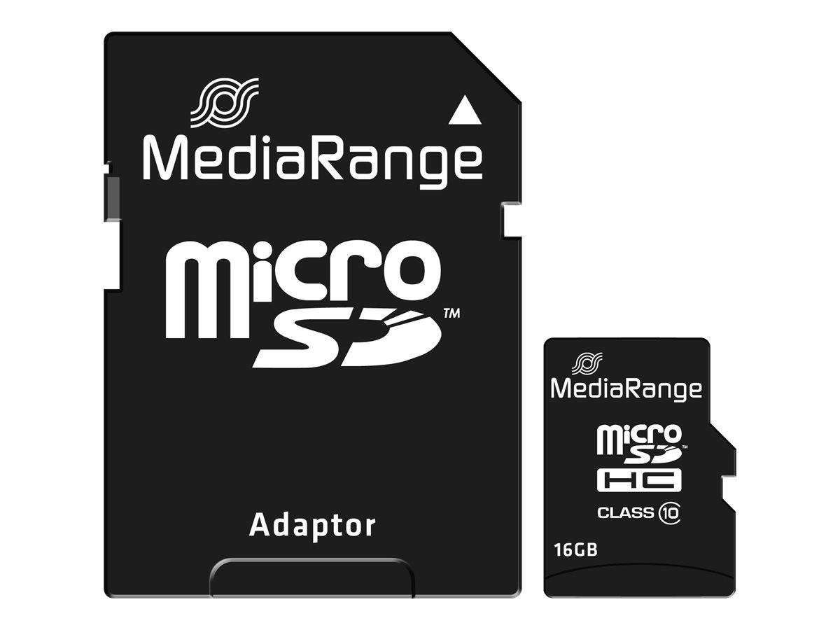MediaRange - carte mémoire 16 Go - Class 10 - micro SDHC