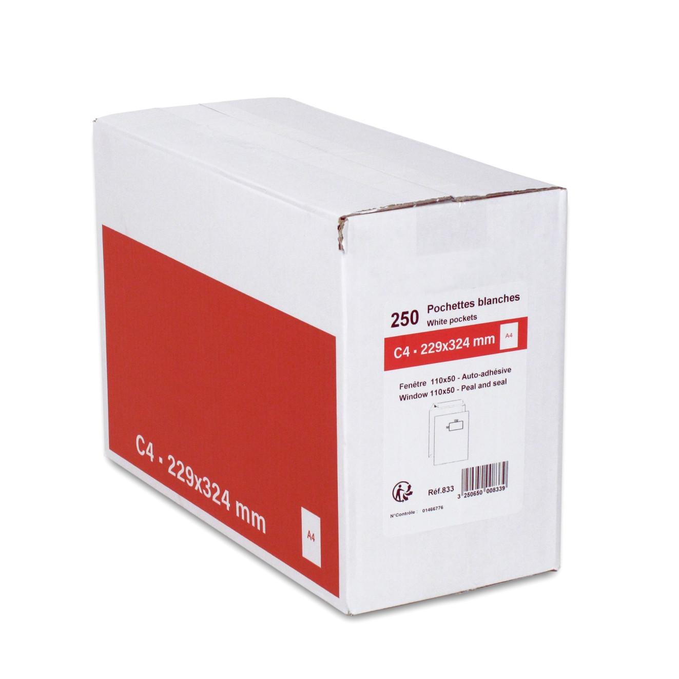 GPV - 250 Pochettes Enveloppes C4 229 x 324 mm - 90 gr - fenêtre 50x110 mm - blanc - bande adhésive