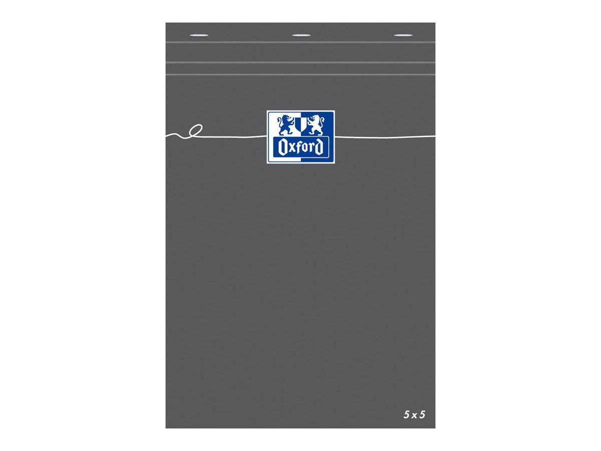 Oxford - Bloc notes - A5 - 160 pages - petits carreaux - 80G - gris