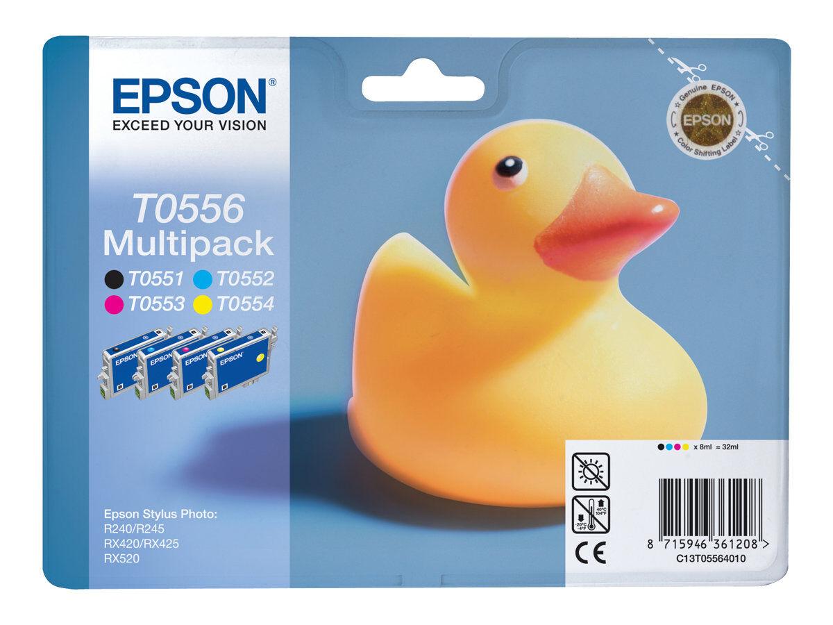 Epson T0556 Canard Pack De 4 Noir Cyan Magenta Jaune