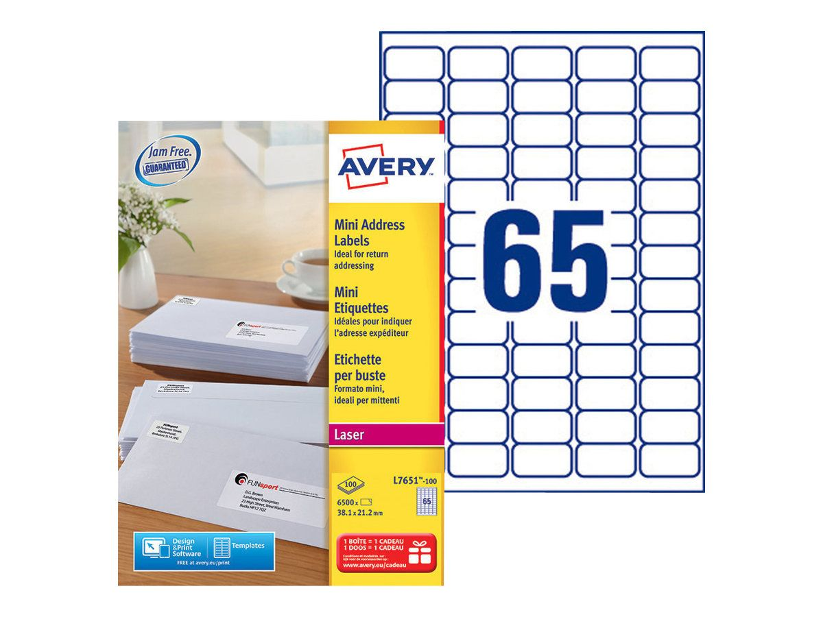 Avery 38,1 x 21,2 mm L7651-100 6500 /Étiquettes laser Blanc