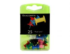 Exacompta - 25 Épingles Push pin's - 10 mm - couleurs opaques assorties