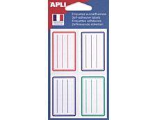 Apli Agipa - 24 Étiquettes scolaires - 36 x 56 mm - lignées bleu/rouge/vert