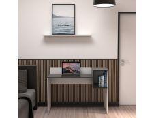 EasyHome - Bureau LV16 121 cm - avec cube de rangement - noir - pieds blancs