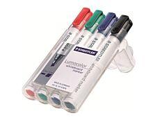 STAEDTLER LUMOCOLOR 351 - Pack de 4 marqueurs effaçables - pointe ogive - couleurs assorties