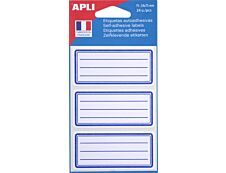 Apli Agipa - 24 Étiquettes scolaires cadre et lignes bleus - 34 x 75 mm - réf 111980