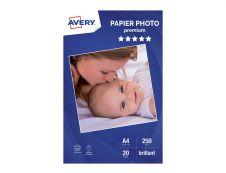 Avery - Papier Photo brillant - A4 - 250 g/m² - impression jet d'encre - 20 feuilles