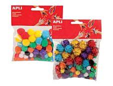 Apli - 78 pompons - coloris assortis