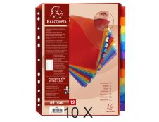 Exacompta - Pack de 10 pochettes intercalaires 12 positions - A4 Maxi - onglets personnalisables