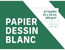 Pochette dessin blanc - 12 feuilles 24 x 32 cm 180 gr