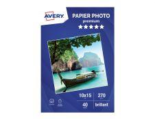 Avery - Papier Photo brillant - 10 x 15 cm - 270 g/m² - impression jet d'encre - 40 feuilles