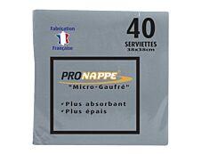 Cogir Pronappe - 40 serviettes jetables - gris - 38 x 38 cm