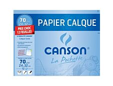 Canson - Pochette papier à dessin calque - 12 feuilles - 24 x 32 cm - 70G (format spécial)