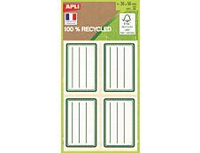 Apli Agipa - 32 Étiquettes scolaires 100% recyclées cadre et lignes verts - 36 x 56 mm - réf 101343
