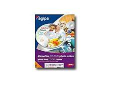 Apli-Agipa - 40 Étiquettes photo mat pour CD/DVD
