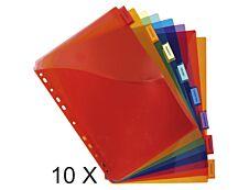 Exacompta - Pack de 10 pochettes intercalaires 8 positions - A4 Maxi - onglets personnalisables