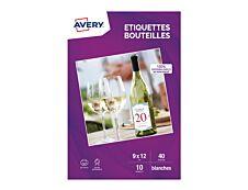 Avery - 40 Étiquettes pour bouteilles - 120 x 90 mm - Impression jet d'encre