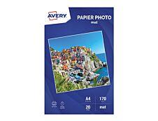 Avery - Papier Photo mat - A4 - 170 g/m² - impression jet d'encre - 20 feuilles