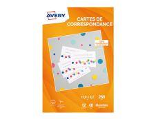 Avery - 48 Cartes de correspondance à bords lisses - 128 x 82 mm - 260 g/m² - impression jet d'encre (C2318-12)