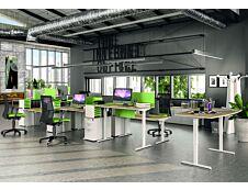 Bureau LEVEL réglable en hauteur par boitier de contrôle - 140 x 80 cm - Imitation Hêtre