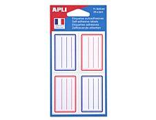 Apli Agipa - 24 Étiquettes scolaires cadre et lignes bleus, rouges - 36 x 56 mm - réf 11278