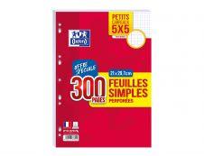 Oxford - 300 feuilles simples A4 - petits carreaux (5x5 mm) - perforées