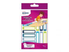 Avery - 30 Étiquettes adhésives pour stylos bleu/vert - 50 x 10 mm