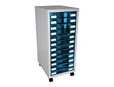 Module de rangement à roulettes 12 tiroirs - anthracite/bleu