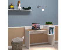 EasyHome - Bureau LV16 121 cm - avec cube de rangement - cerisier - pieds blancs