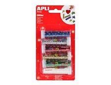 Apli - 6 tubes à paillettes - coloris assortis