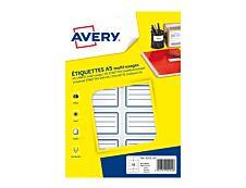 Avery - 120 Étiquettes scolaires blanches lignées bleu - 36 x 56 mm