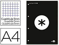 Antartik - Bloc noir de 100 feuilles simples A4 - petits carreaux - perforées