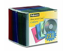 Fellowes - 25 boîtiers fins pour CD - couleurs assorties