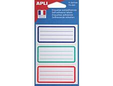 Apli Agipa - 9 Étiquettes scolaires cadre et lignes bleus, rouges, verts - 81 x 36 mm - réf 111981