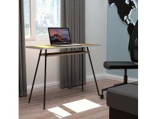EasyHome - Bureau télétravail LV1 100 cm - avec tablette - noyer - pieds noirs