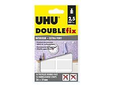 UHU DOUBLEfix - 16 pastilles adhésives - blanc - permanent