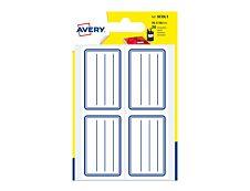 Avery - 20 Étiquettes scolaires blanches lignées bleu - 36 x 56 mm